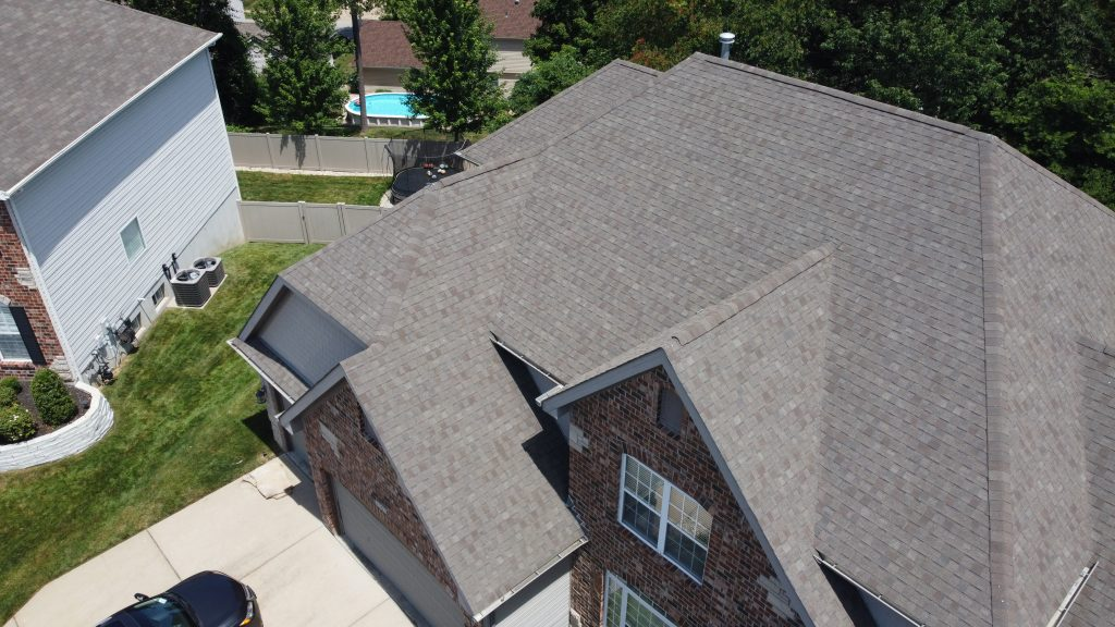 drone shot of roofing project in springfield